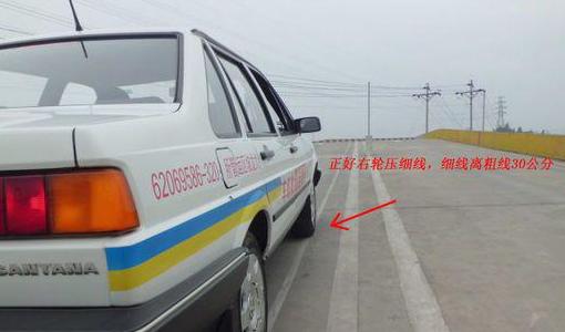 技巧图解  在车下观察,车辆右边轮胎正好压在细线上 (坡道定点停车