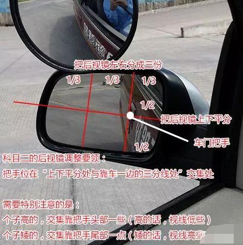 怎么调技巧  左后视镜调节 把左后视镜左右分成三份,上下平分,车门