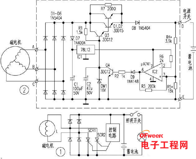 磁电机输出的交流电压经二极管d1~d6整流后变成脉动直流电压分两路