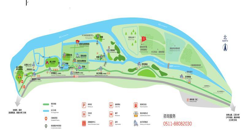 4,中国 长江生态湿地公园手绘地图