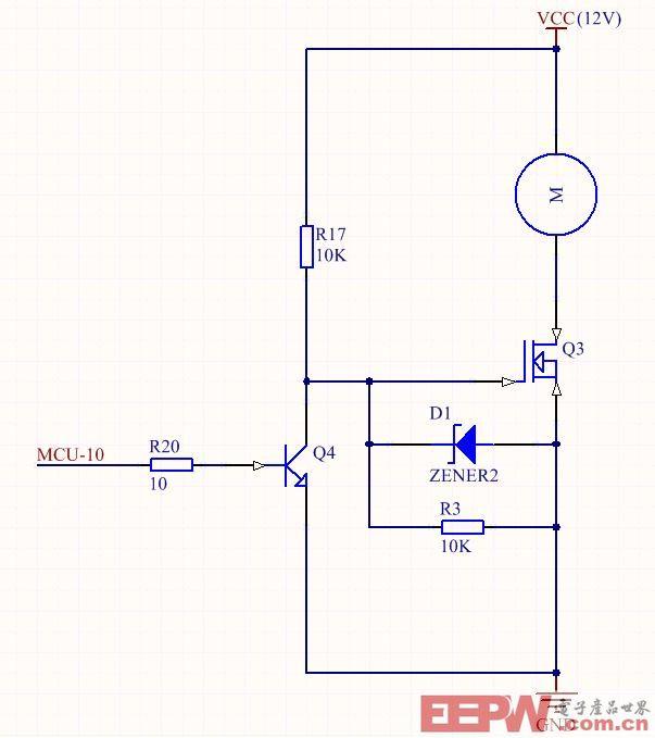 和三极管q4,当mcu_io 是高电平1 的时候,三极管导通,mos管的门极电压
