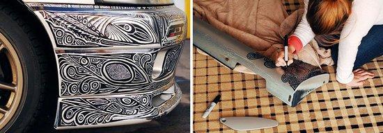 这对年轻夫妻用记号笔画出了如此炫酷的车身!