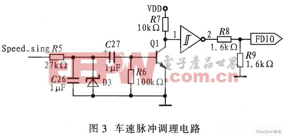 因此在输入至中断端口eint0前需要对车速脉冲信号进行处理,这里采用rc