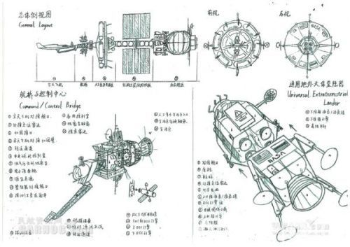 南航学生醉心飞行器 手绘航天器设计图(2)