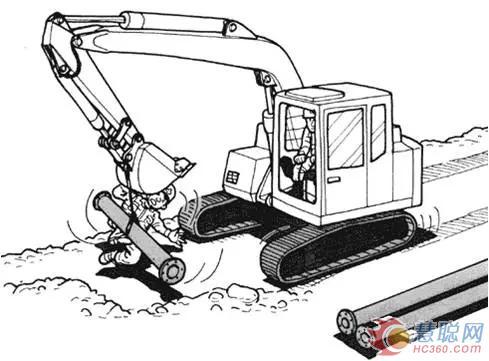 扶着水管的工作人员倒在地上,被液压挖掘机挤压到.
