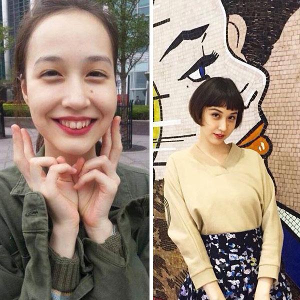 """相比成熟老气的中分造型,""""二次元刘海""""更适合她的脸型和气质."""