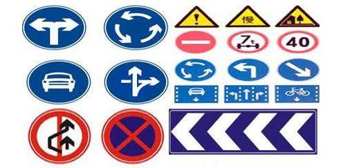 正等边三角形:用于警告标志;b. 圆形:用于禁令和指示标志;c.
