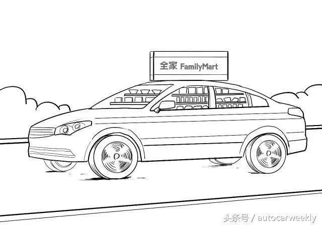 食品安全车简笔画创意画