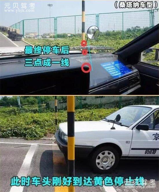 当看到车内仪表盘遮挡右上角,雨刮器节点和停车杆呈三点一线时,踩离合