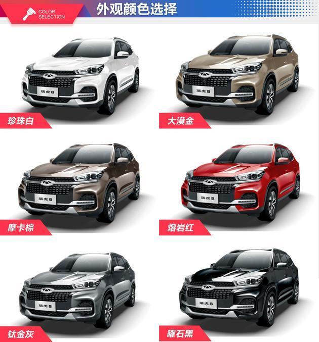 奇瑞瑞虎8共推出六种车身颜色,分别为珍珠白,大漠金,摩卡棕,熔岩红,钛图片
