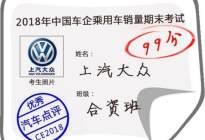 2018中国车市期末考试成绩榜:上汽大众