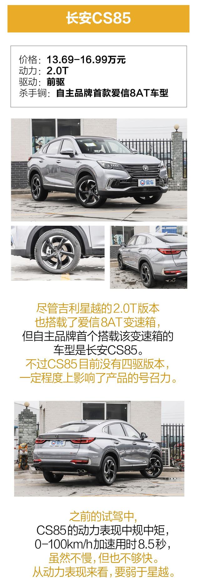 侃车龙门阵 | 星越、CS85还是F7x?自主轿跑SUV究竟谁最强?