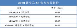 配置小幅調整 中規新款寶馬X5售價69.99-84.99萬
