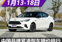 嘉悦A5让2万 中国品牌紧凑型车降价排行