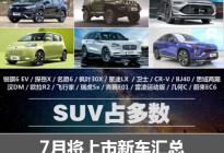 SUV占多数 7月将上市的20款新车汇总