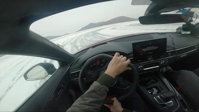 曾颖卓奥迪冰上试驾A4L,它就像是换了部车